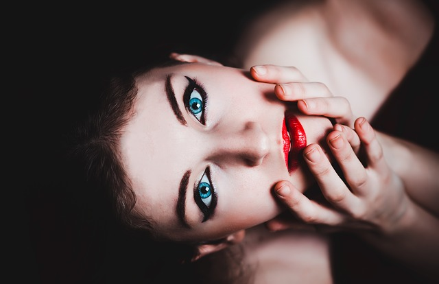 , blue eyes, woman, female, makeup, model, red lipstick
