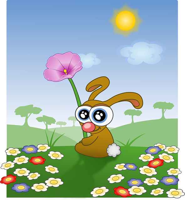 , bunny, easter, spring, flowers, happy, holidays