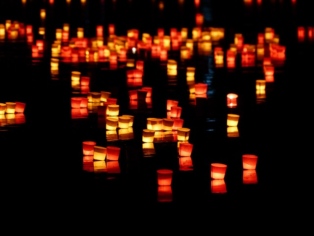 , candles, lights serenade, lights, river, swim, romance