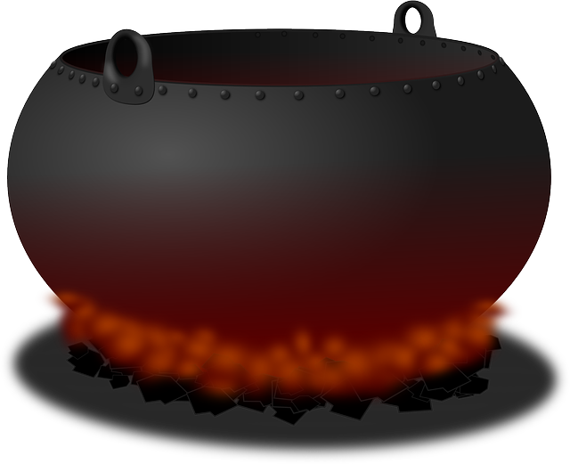 , cauldron, pot, fire, heat, cooking, hell