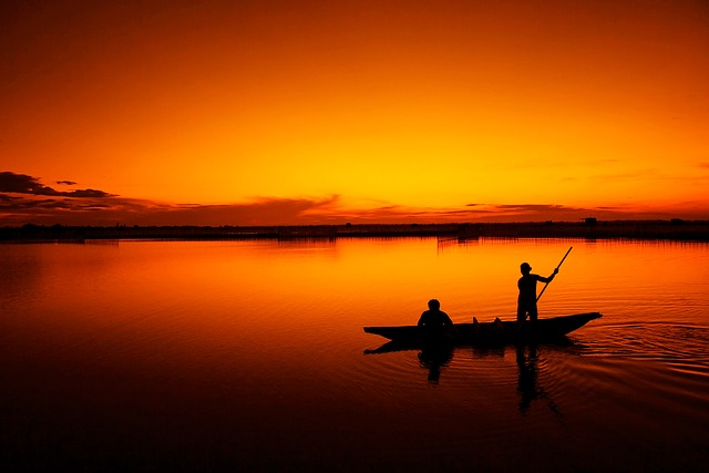 , fishing, boat, fisherman, tam giang lagoon, hue, sunset