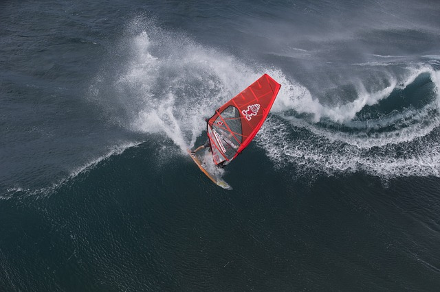 , hawaii, wind surfing, recreation, sports, wave, waves