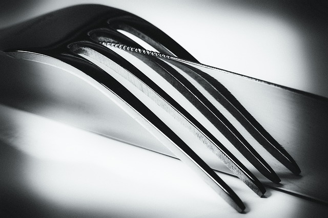 , knife, fork, mirroring, black, white, art, artwork