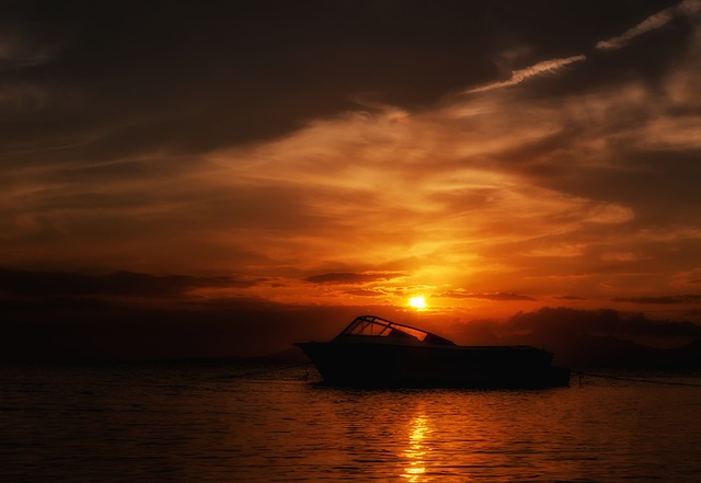 , margarita island, sunset, boat, silhouette, sky, clouds