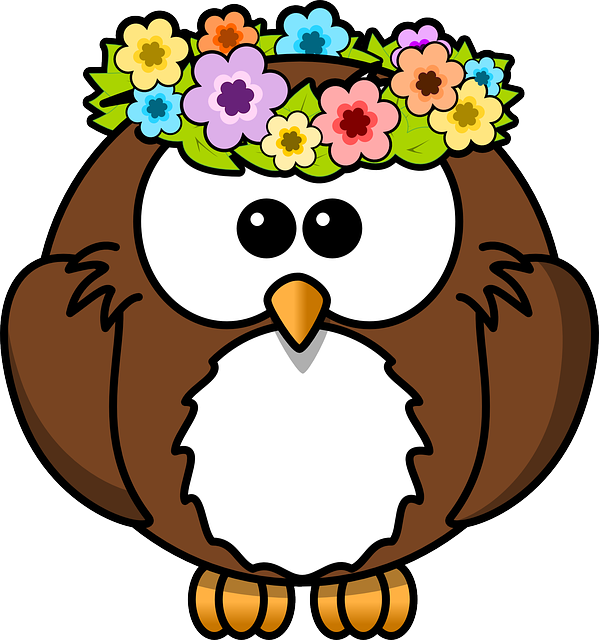 , owl, animal, bird, flowers, funny, garland, spring