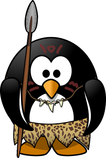 , penguin, tux, neanderthal, tarzan, animal, bird, lance
