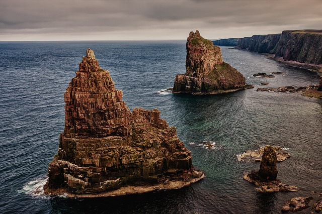 , rock, stacks of duncansby, scotland, north of scotland