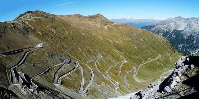 , stelvio yoke, pass road, mountain pass, road, paved