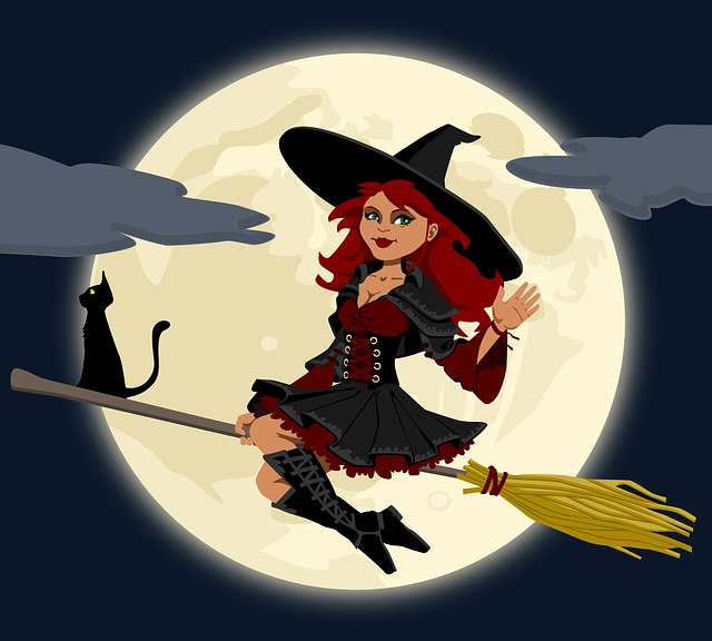 , witch, witchcraft, broomstick, broom, cat, female