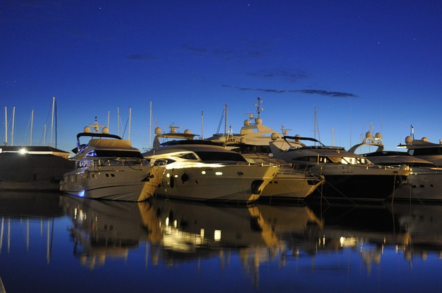 abendstimmung, water, sea, motor boats, port, holiday