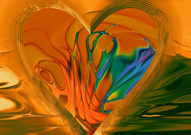 abstract, pattern, heart, love, lines, wave, movement