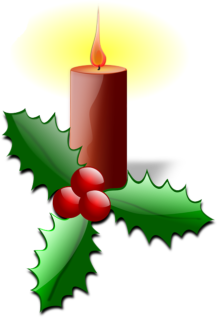 advent, candle, flame, burn, ilex, holly, leaves