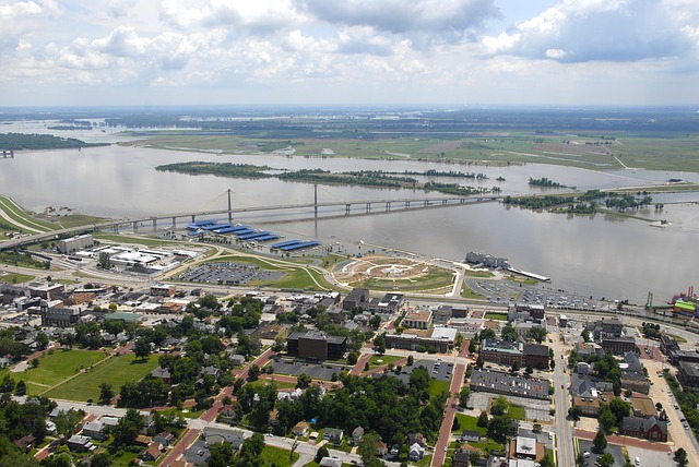 aerial view, alton, illinois, river, water, bridge