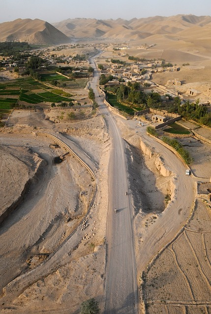 afghanistan, aerial view, mountains, desert, village