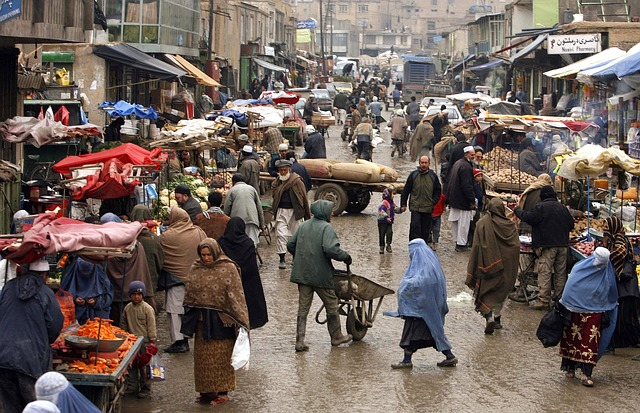afghanistan, town, city, people, merchants, wares