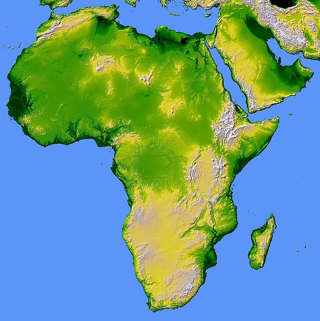 africa, map, relief, land, continent, geography, srtm