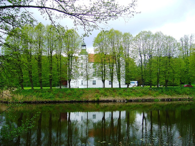 ahrensburg, castle, palace, trees, water, historical