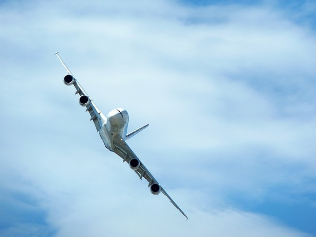 airbus, a380, maneuver, angle, large, sky, white
