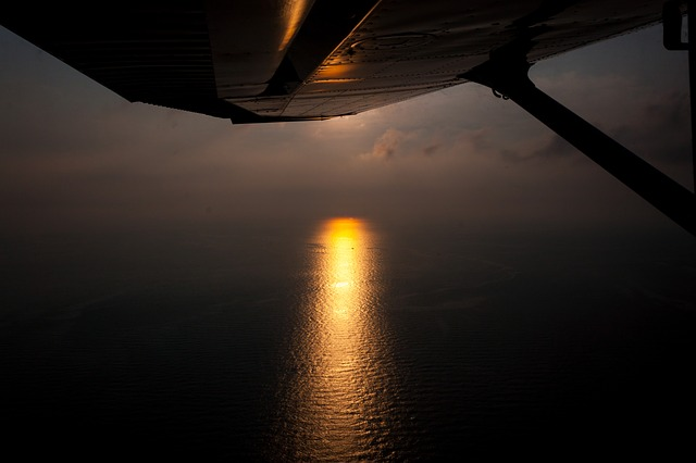 aircraft wing, wing, sunset, sea, aircraft, evening sky