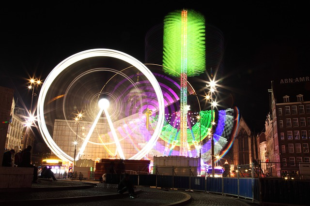 amusement, circle, color, colorful, dark, entertainment