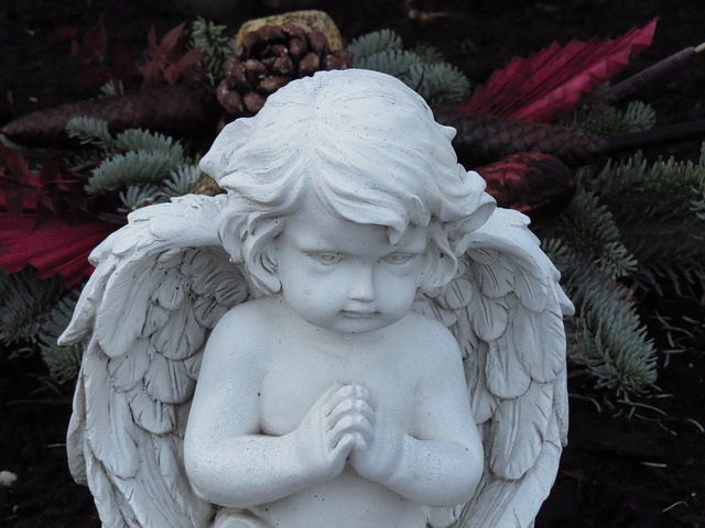 angel figure, angel, pray, tombstone, statue, cemetery