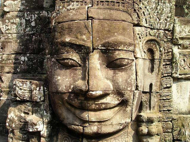 angkor, wat, cambodia, temple, face, large, fig, statue