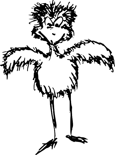 angry, bird, ostrich, chicken, black, sketch, white