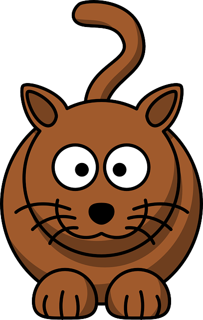 animals, baby, cat, brown, face, cartoon, big, mammals