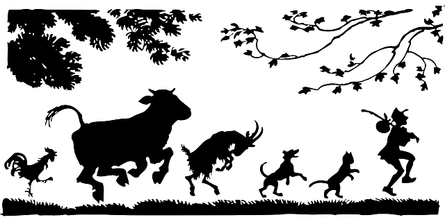animals, cat, man, silhouette, dog, cow, goat, chicken