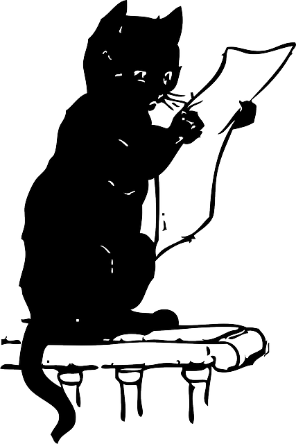 animals, cat, silhouette, reading, cartoon, mammals