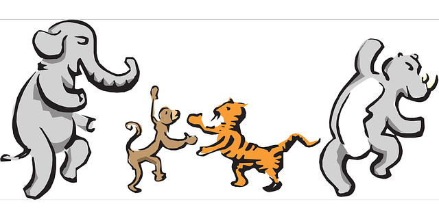 animals, monkey, drawing, elephant, tiger, dancing