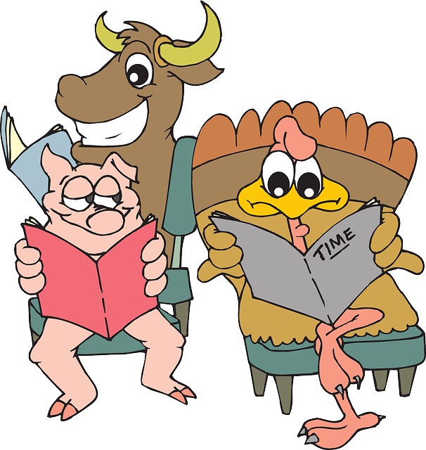 animals, room, cartoon, pig, bull, chicken, waiting