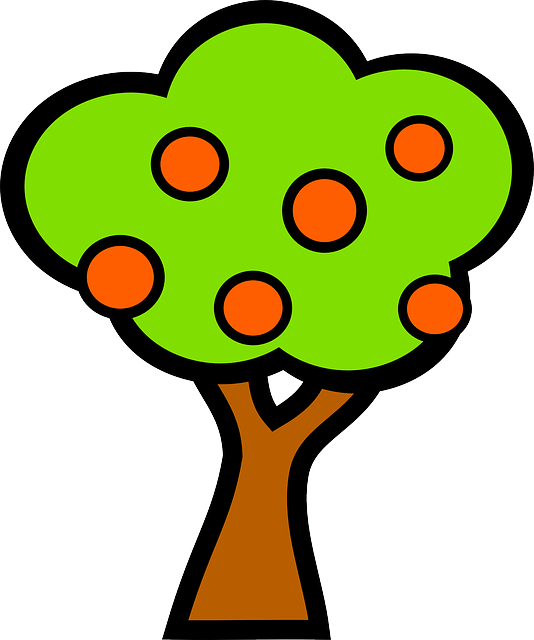 apple, food, fruit, whit, plants, tree, cartoon, orange