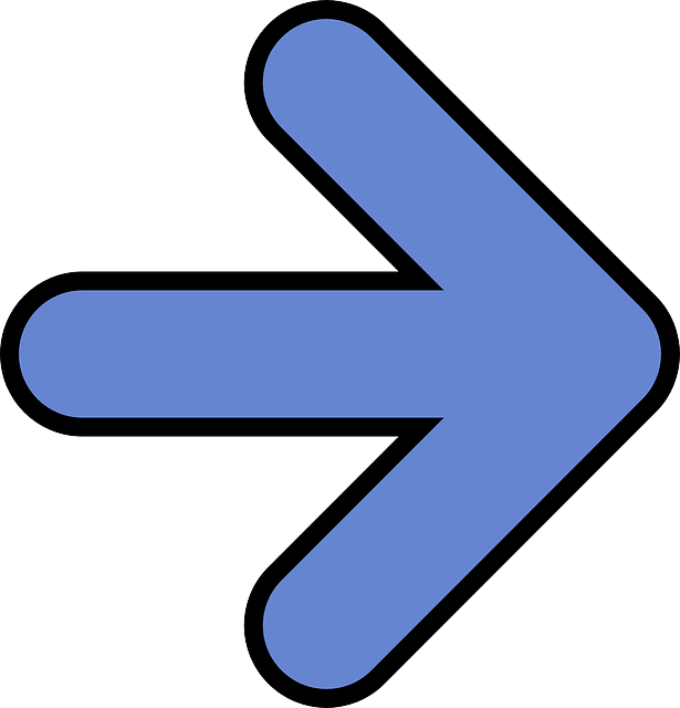 arrow, right, blue, symbol, direction, pointing