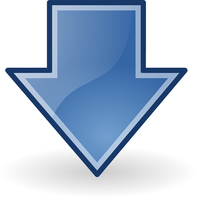 arrows, blue, down, download, glossy
