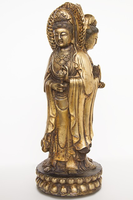art, bronze, cast, gilded, asia, guanyin, china, hands
