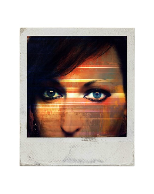 art, light, eyes, polaroid, woman