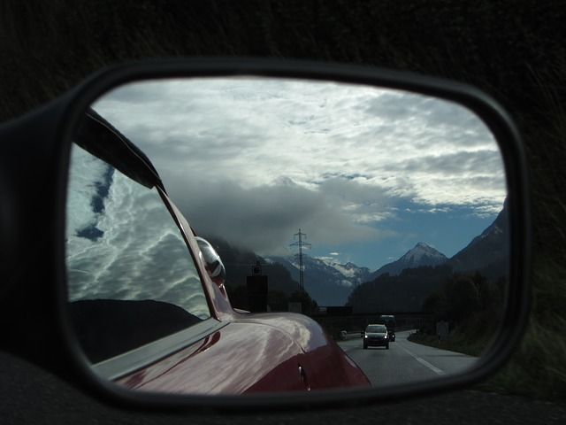 auto, switzerland, alpine, rear mirror, landscape