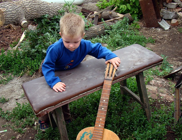 baby, boy, kid, small child, people, guitar, acoustic