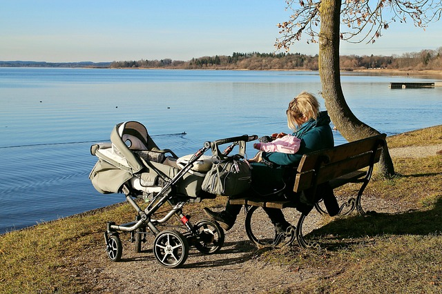 baby carriage, nature, water, see, man, personal, woman