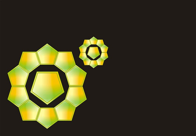 background, black, modern, pentagon, shapes, yellow