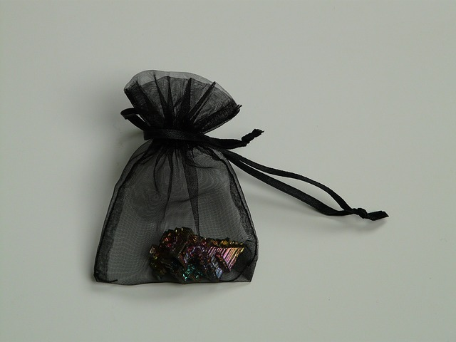 bag, gift bag, black, gem, mineral, bismuth, iridescent