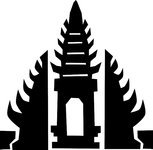bali, temple, indonesian, silhouette