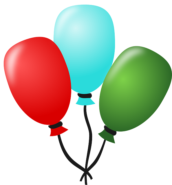 balloon, birthday, party, festive, red, green, blue