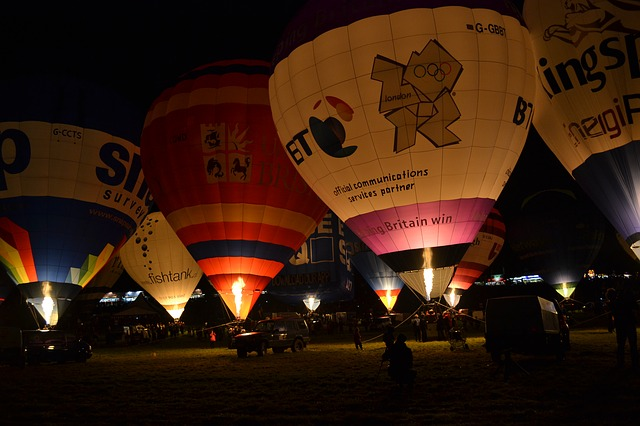 balloon, hot air balloons, flying, night, bristol, uk