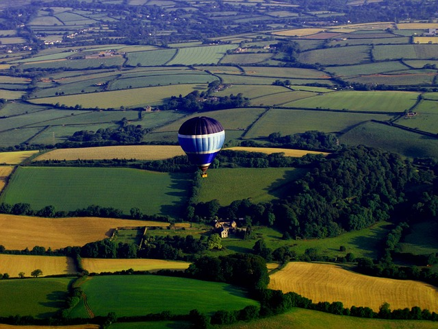 balloon, view, nature, landscape, sky, countryside