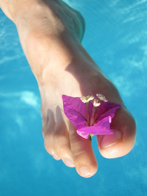 barefoot, blossom, care, female, flower, foot, girl