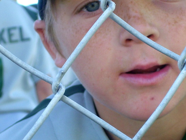 baseball, player, looking, fence, mouth, eye, face