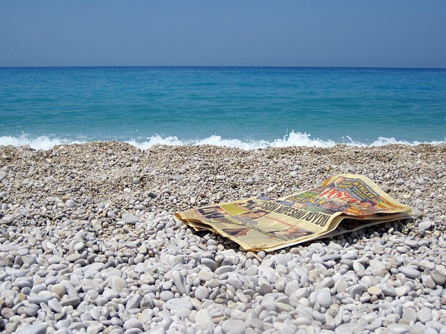 beach, blue, news, newspaper, ocean, old, paper, read