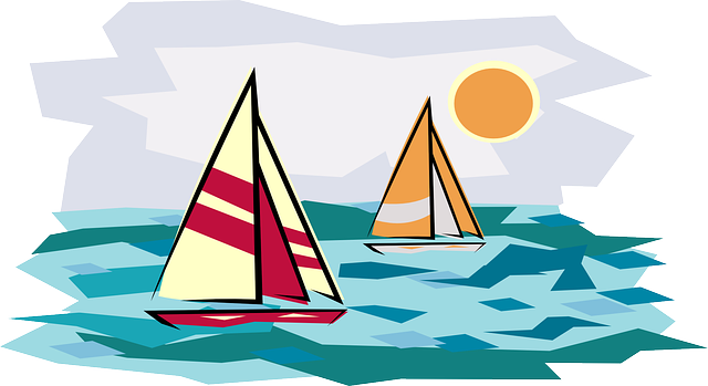 beach, sailing, sun, recreation, cartoon